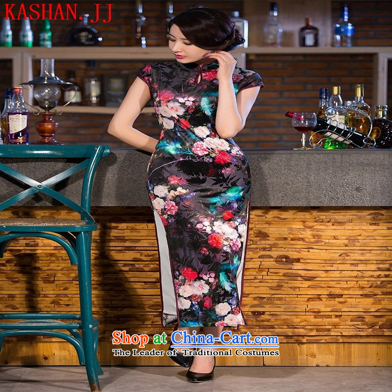 Mano-hwan's 2015 New Silk Cheongsam long load qipao skirt the Sau San autumn retro improved stylish dresses mother Figure Boxed?XL