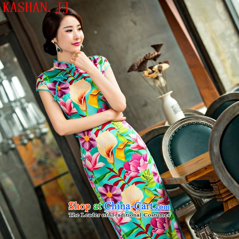 Mano-hwan's new Silk Cheongsam look ladies dress qipao Sau San clothing dresses dress figure?M