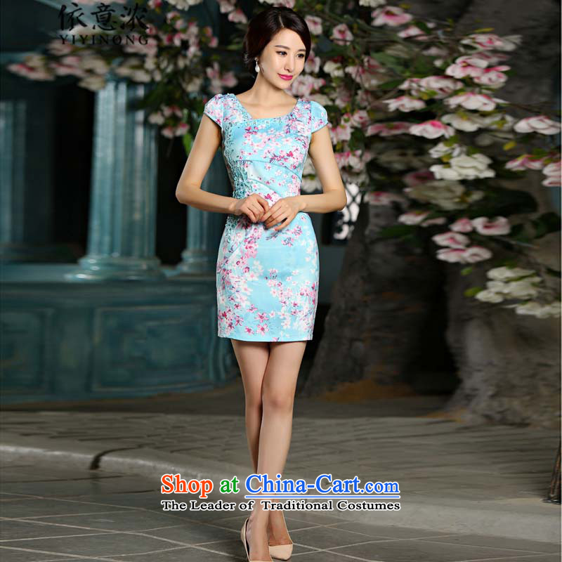 In accordance with the intention is thicker? 9022_?summer video thin cheongsam dress circle style improvement blue qipao Sau San embroidery?L