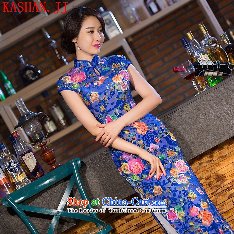 Mano-hwan's autumn 2015 new stylish improved long_ scouring pads cheongsam dress daily qipao Sau San retro dresses female figure燤