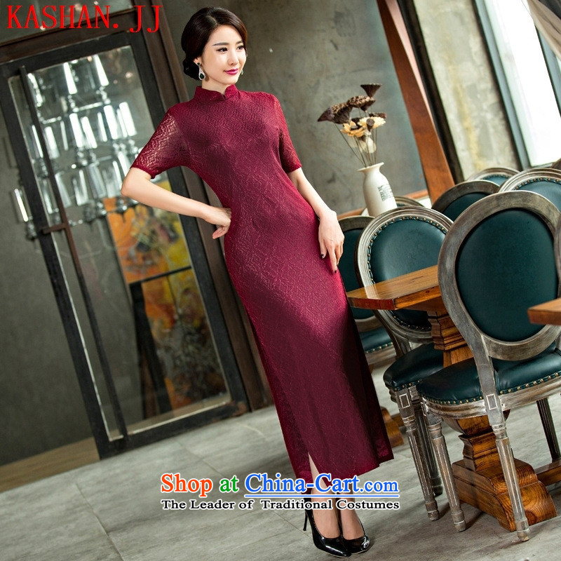 Mano-hwan's 2015 new lace qipao summer long skirt temperament cheongsam dress clothes bridal dresses figure XL