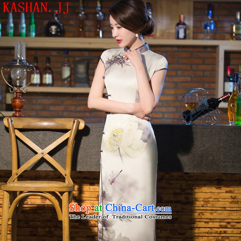 Mano-hwan's 2015 Spring_Summer Load New Silk Cheongsam retro long silk dresses large clothing as figure M