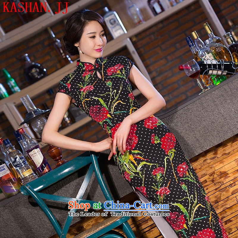 Mano-hwan's new stylish retro qipao summer improved daily qipao etiquette Sau San banquet dresses dress figure S
