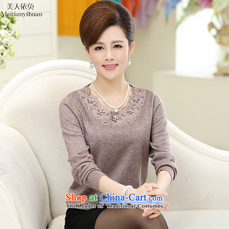 In the autumn of older women wear long-sleeve sweater with flower loose collar Knitted Shirt mother kit and blue sweater 115 gross Embroidery