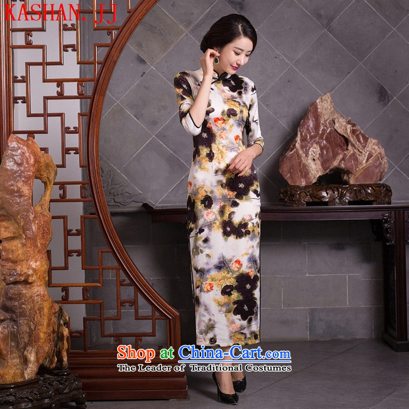 Mano-hwan's 2015 new autumn and winter skirt daily female retro style qipao and improved stylish long Silk Cheongsam Sau San dresses figure?S