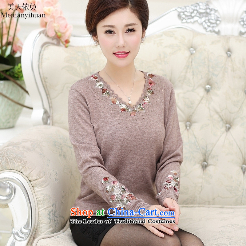 Replace wear long-sleeved shirt autumn large middle-aged ladies' knitted shirts loose T-shirt with mother Green 115
