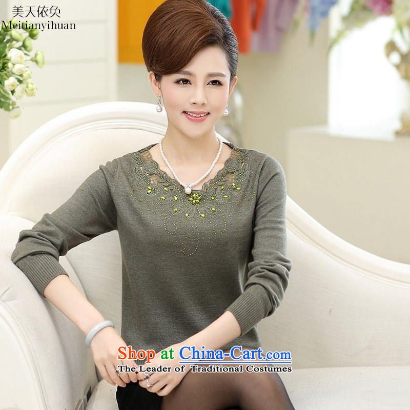 In the autumn of older replacing large long-sleeved T-shirt with long-sleeved embroidered forming the moms clothes knitted and Green 110