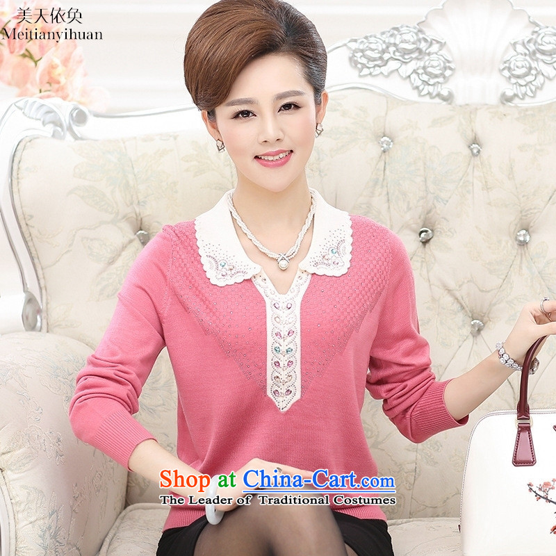 2015 Autumn casual MOM pack long-sleeved T-shirt girl in the knitwear of older women's middle-aged?115 purple shirt