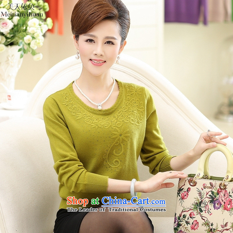 In the autumn of older T-shirts mother knitted shirts embroidery pullovers long-sleeved blouses and Blue 110