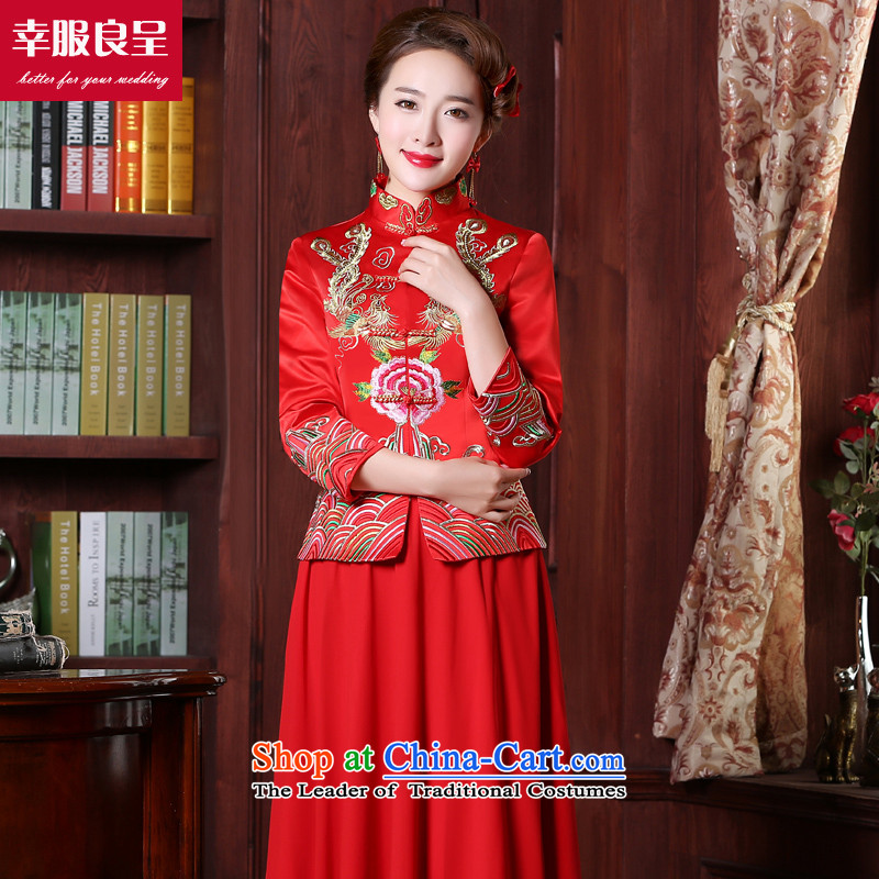 However service red qipao long-serving Chinese wedding gown wo wedding dress code and stylish autumn load large new 2015 9 sleeve length chiffon skirt燤