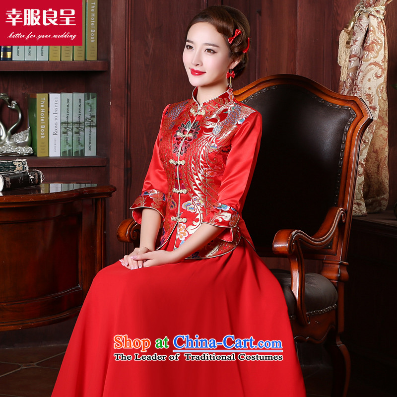However Service Chinese qipao marriage bride wedding dress red long 2015 New Fall Classics pack of 7 female wedding gown sleeve length chiffon skirt M