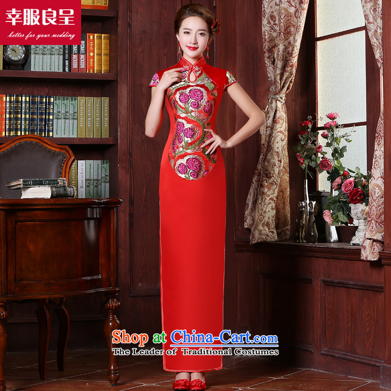Red bows service bridal dresses Chinese wedding dress autumn 2015 New Long_ Bride with stylish wedding dress short-sleeved long�L