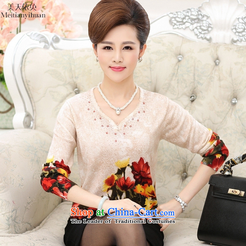 Replace V-neck in the autumn of 2015, the long-sleeved Knitted Shirt, older women's stamp sweater T-shirt with floral?120 middle-aged moms