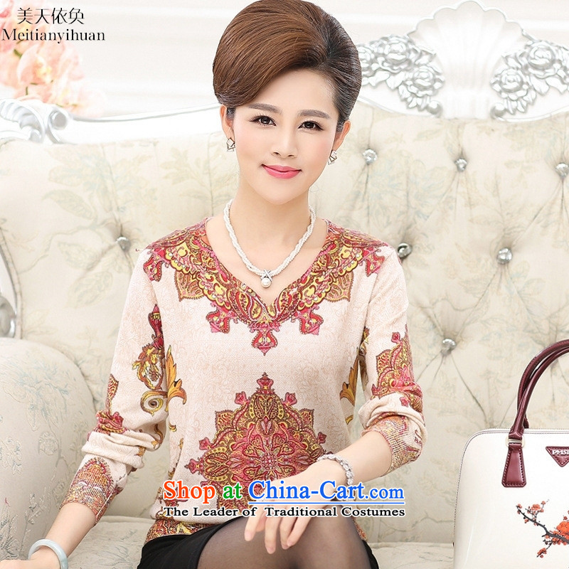 Older women fall in long-sleeved shirt with middle-aged moms knitted shirts V-Neck stamp wool jumper suit 120