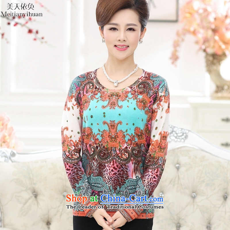 Older women fall in long-sleeved shirt with middle-aged moms knitted casual shirt collar stamp sweaters worth 110 Blue Flowers