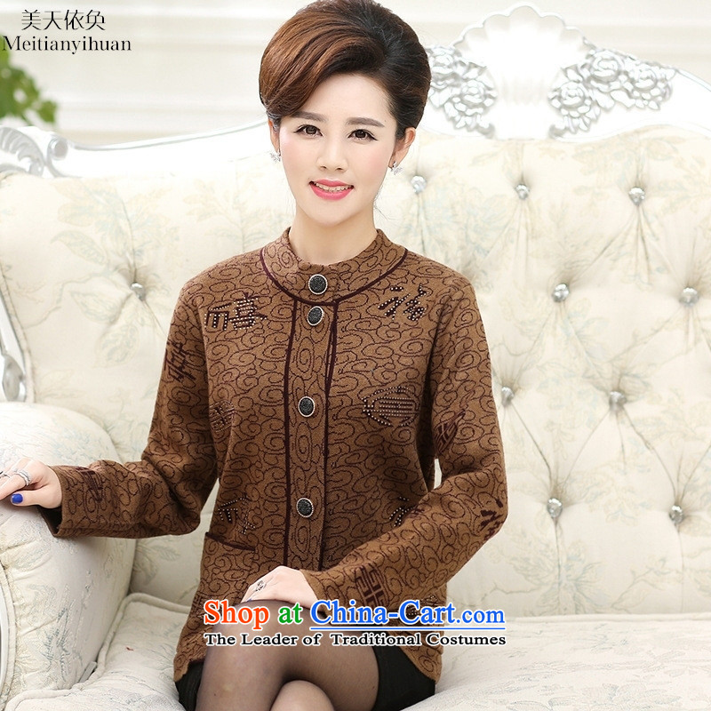 2015 Autumn and winter thick warm sweater in older-semi-high collar cardigan mother Red 115