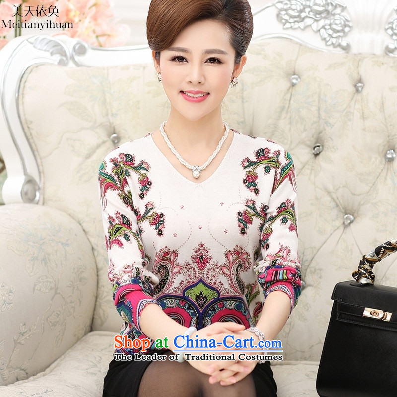 In the autumn of older women Knitted Shirt with long-sleeved stamp in MOM older T-shirt safflower 115
