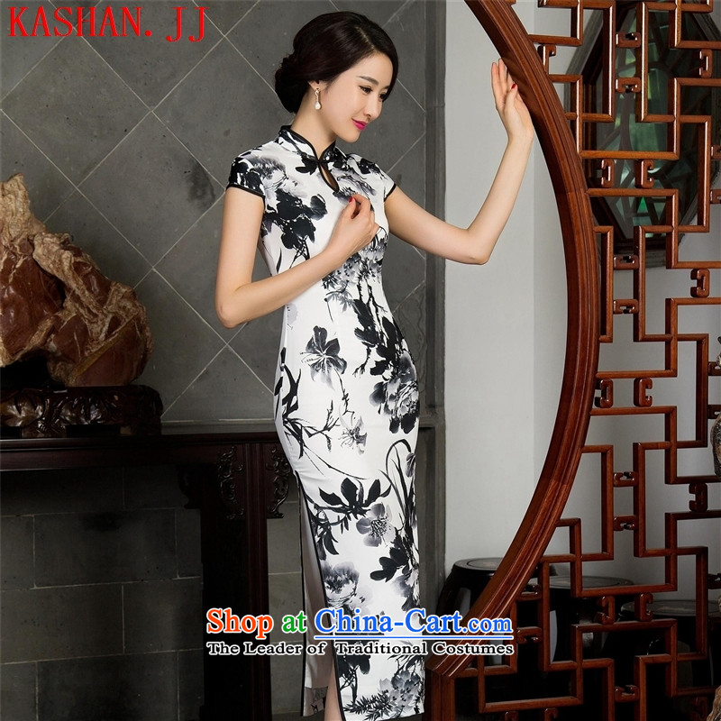 Mano-hwan's autumn and winter new cheongsam sleeveless cheongsam dress collar high on's long skirt qipao remarks107-11028 L