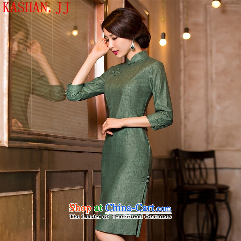 Mano-hwan's new cheongsam dress summer pure color retro improvement in stylish cheongsam dress short-sleeved qipao 11078 Sau San L
