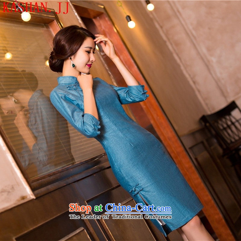 Mano-hwan's summer cheongsam dress new linen stylish improved cheongsam dress retro qipao 11079( Template Characteristics) L
