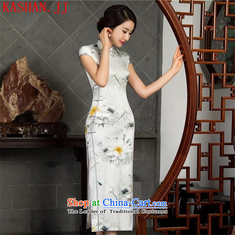 Mano-hwan's new retro cheongsam dress qipao autumn Sau San long retro cheongsam dress 12018 XXL