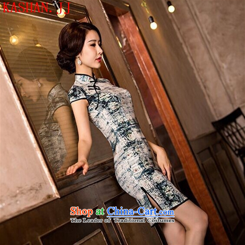 Mano-hwan's 2015 new summer stylish improved herbs extract cheongsam dress retro Ms. Sau San Sau San cheongsam dress Korea silk ink聽XL