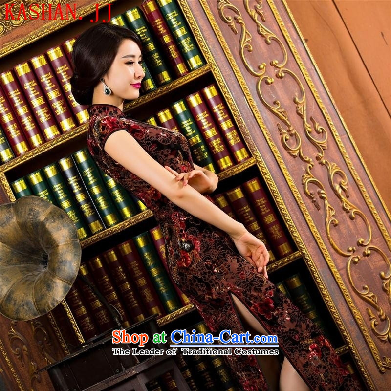 Mano-hwan's summer qipao stylish Sau San qipao new dresses high on's long qipao brown velvet S