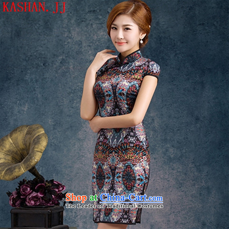 Mano-hwan's new decorated in video thin summer female qipao daily improved Stylish retro cheongsam dress embroidery chiffon bird feathers�L