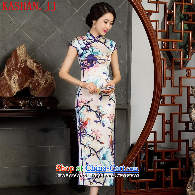 Mano-hwan's autumn, short-sleeved long qipao improved stylish cheongsam dress 12023 XXL