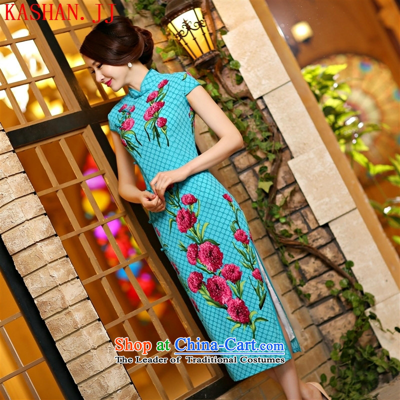 Mano-hwan's 2015 new high-spring and summer of the forklift truck and sexy beauty long qipao daily improved cheongsam dress suit Female 1005 S