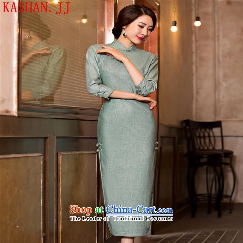 Mano-hwan's 2015 new in the summer and autumn of linen dresses pure color improved stylish cheongsam dress cheongsam dress 120081_ template specialty_ M
