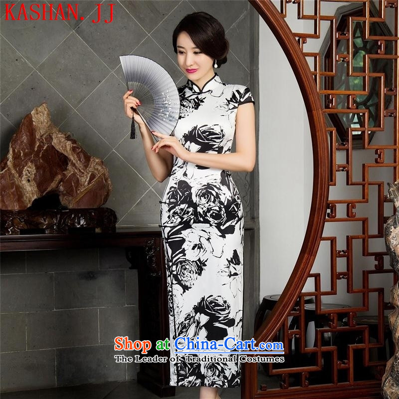Mano-hwan's cheongsam dress autumn_ Improved stylish long qipao sleeveless cheongsam dress聽12021_ template specialty_ XXL
