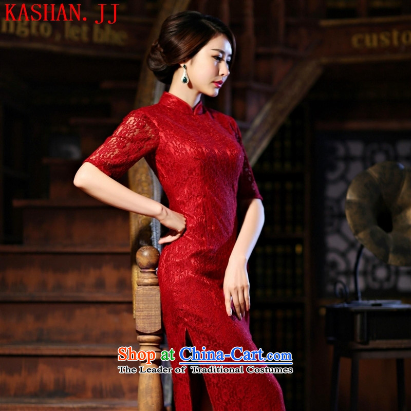 Mano-hwan's new improved cheongsam dress the Sau San retro graphics thin dress long lace short-sleeved qipao wine red_?XL