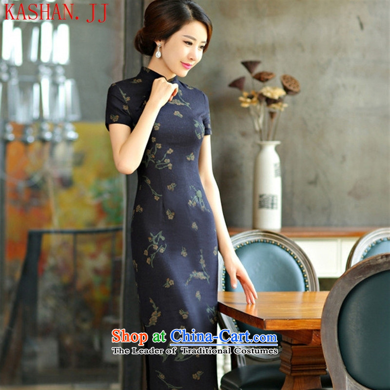 Mano-hwan, decorated in spring and summer 2015 qipao and video thin large short-sleeved improved long qipao retro Linen Dress Samui blue XXL