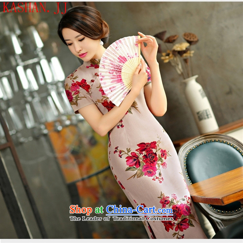 Mano-hwan, decorated in spring and summer 2015 qipao and video thin large short-sleeved improved linen long skirt with�M Cheongsam