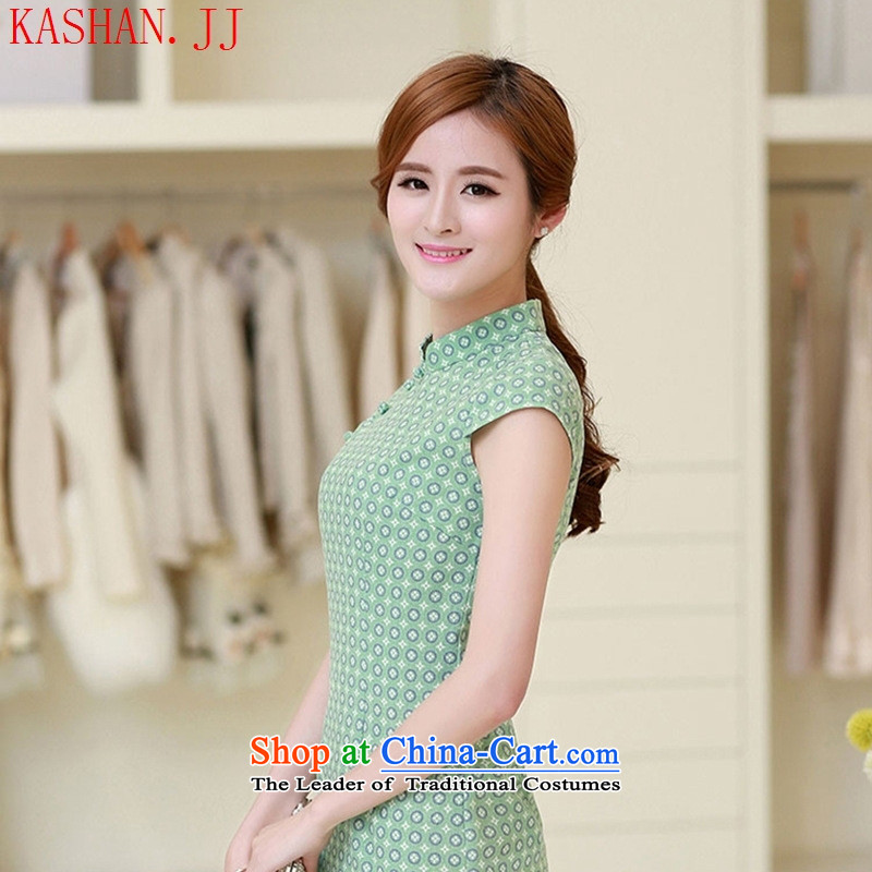 Mano-hwan, short-sleeved qipao China wind retro linen arts circle of the forklift truck cheongsam dress, light green summer Sau San XXL