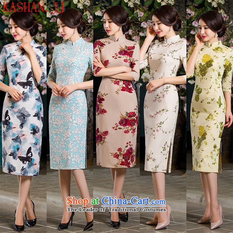 Mano-hwan's Summer 2015 Autumn Stylish retro Sau San Graphics Improvement linen long thin) cuff cheongsam dress day lilies�M