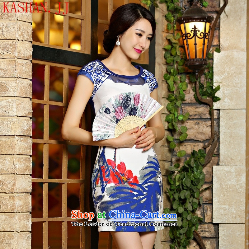 Mano-hwan's 2015 new digital summer 9021# Embroidery Stamp temperament Sau San improved cheongsam dress blue�S