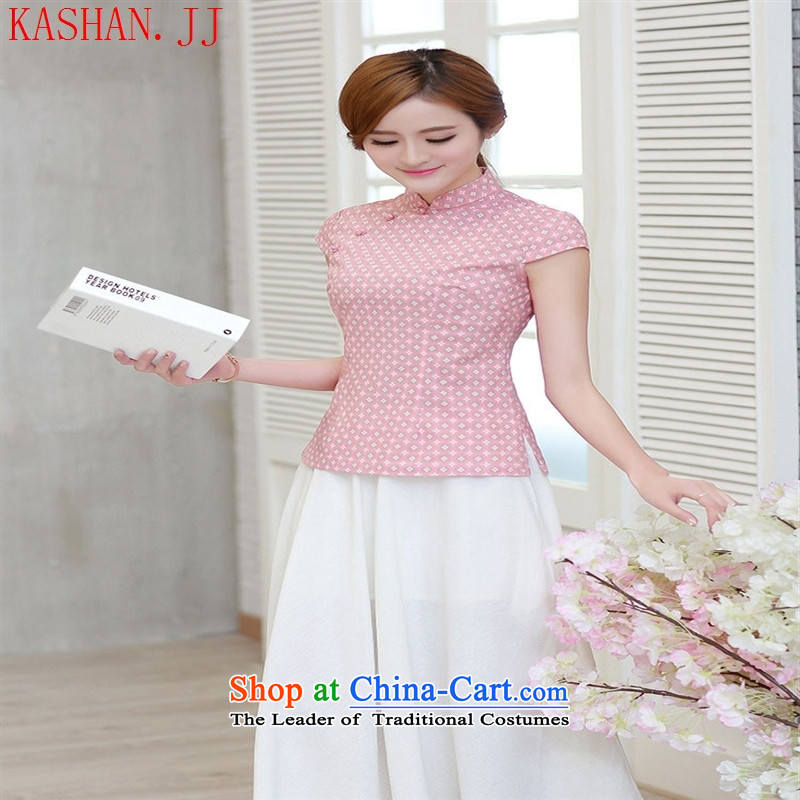 Mano-hwan's new cheongsam T-shirt retro China wind improved Han-summer ethnic short-sleeved T-shirt qipao female republic of korea pink flower shirt聽L