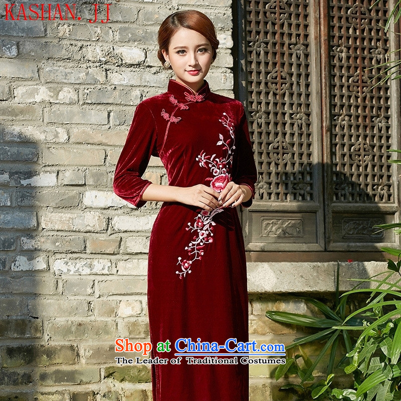 The long-hwan, the velvet cheongsam mother load new large number 2015 antique dresses wedding dress in purple long-sleeved燲XL
