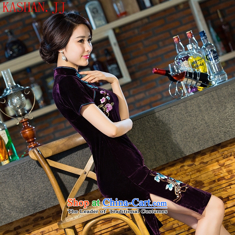 Mano-hwan's 2015 embroidery new improvements scouring pads qipao retro manually staple bead scouring pads cheongsam dress wine red聽S