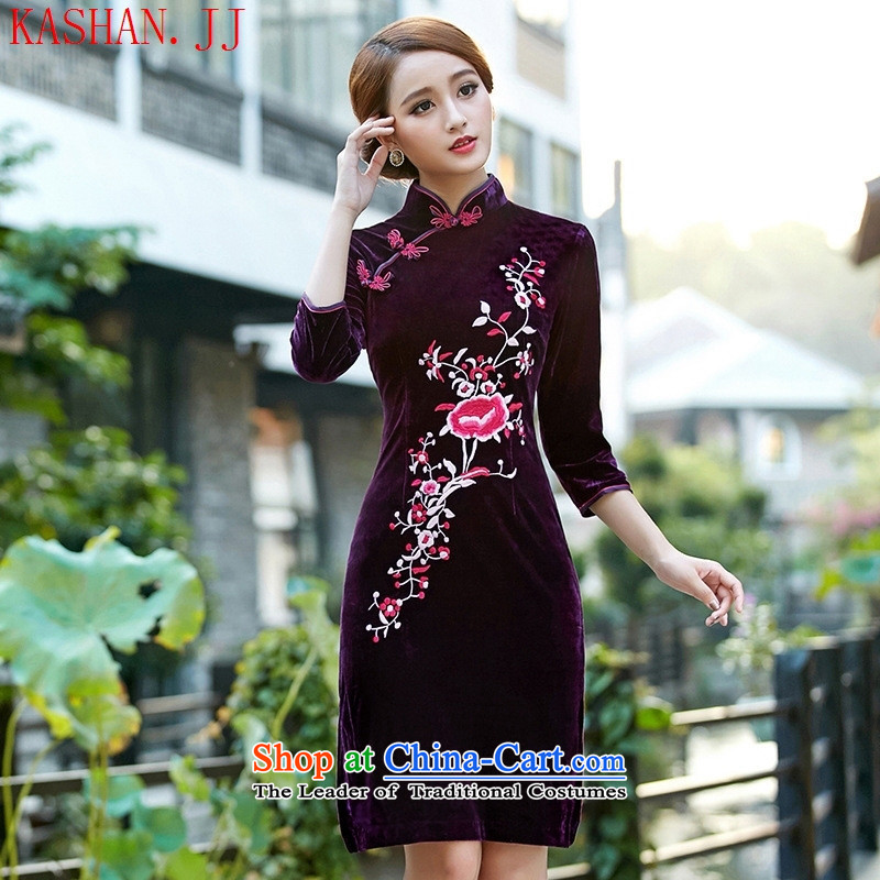 Mano-hwan's 2015 new autumn qipao handicraft embroidery mother replacing retro wedding banquet cheongsam dress short-sleeved black) XL