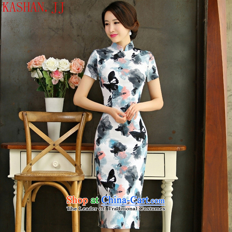 Mano-hwan's cotton linen dresses 2015 spring/summer load retro Sau San video short-sleeved thin large improved linen long skirt the butterfly L Cheongsam