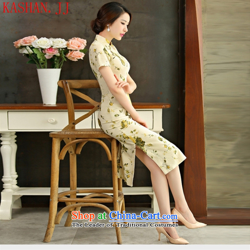 Mano-hwan's cotton linen dresses 2015 spring/summer load retro Sau San video short-sleeved thin large improved linen long qipao new HUANGMEI XL, Susan Sarandon bandying (KASHAN.JJ card) , , , shopping on the Internet