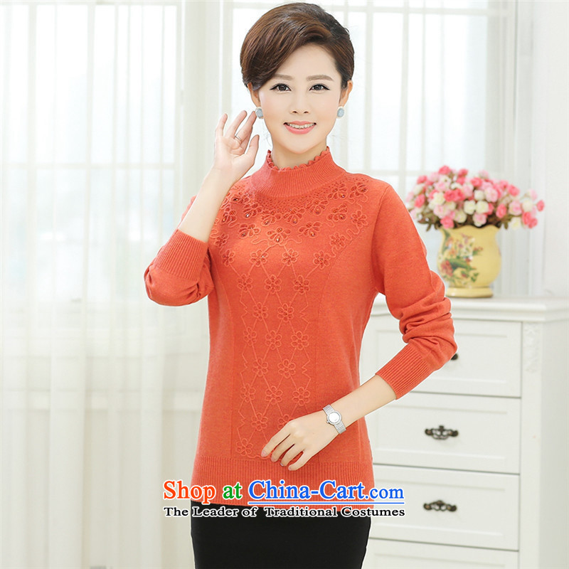 In the autumn of 2015, the elderly lady knitted middle-aged long-sleeved shirt with large sweater autumn mother Orange red T-shirt, forming the replacing�0-L
