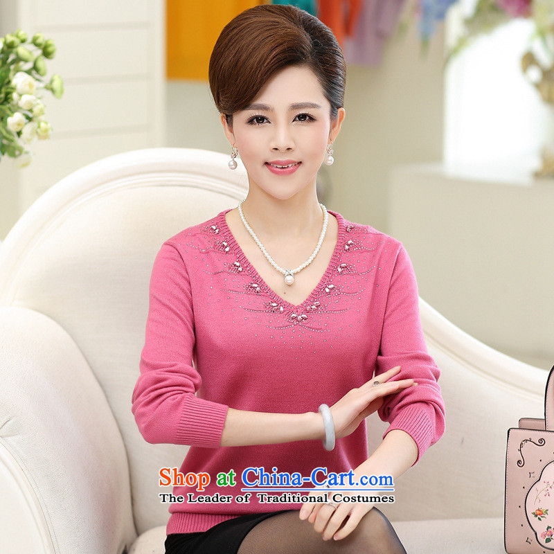 2015 Autumn female new_ knitted shirts older V-Neck large load forming the mother sweater brown�0