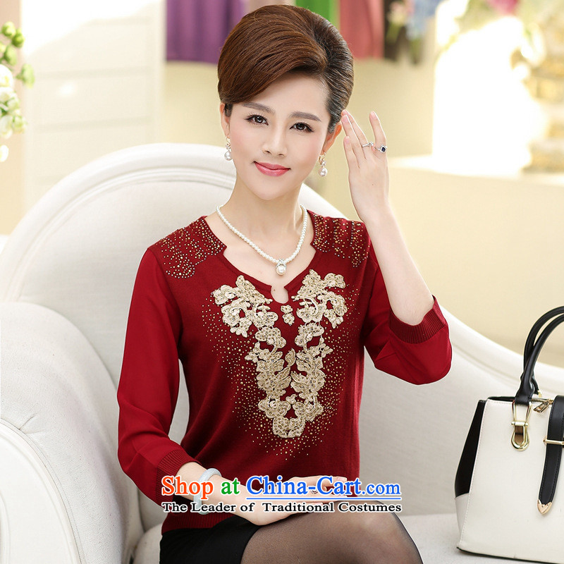 2015 Autumn Korean chiffon embroidery middle-aged female load Sau San forming the Netherlands female T-shirt plaid on Tsing�5
