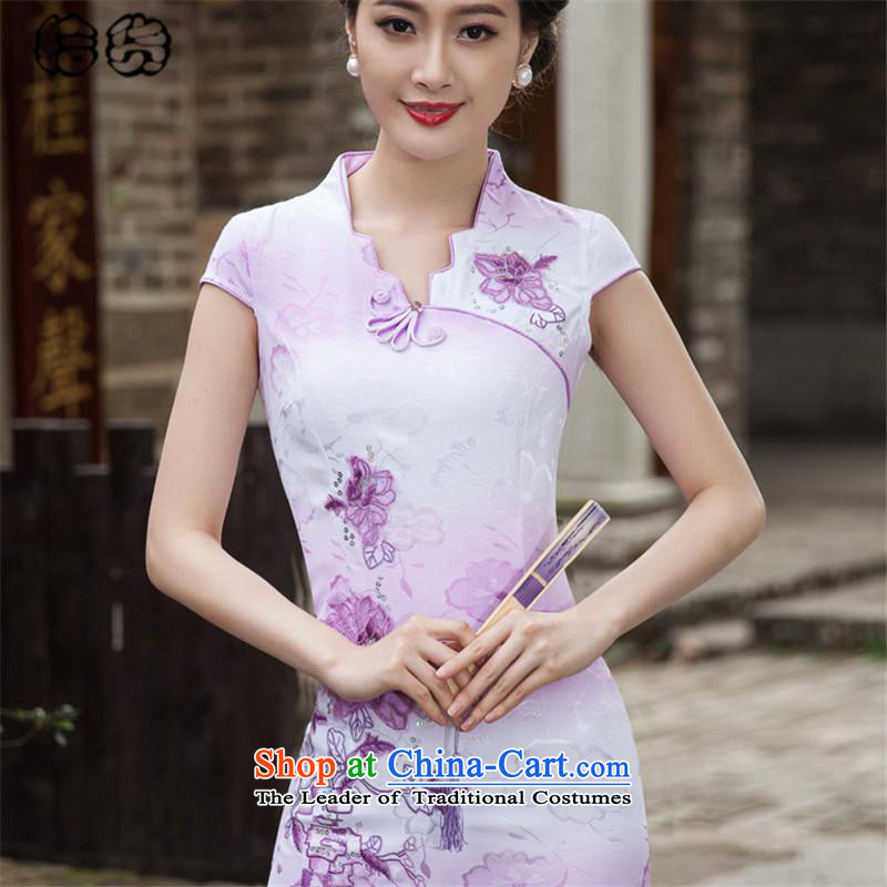 Hirlet Ephraim 2015 Summer stylish short-the forklift truck cheongsam dress retro China wind fresh flower embroidery daily   elegant package and skirt dress violet qipao燣