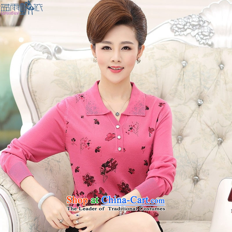 2015 Autumn New_ Older women wear t-shirt lapel stamp long-sleeved blouses mother pink燤