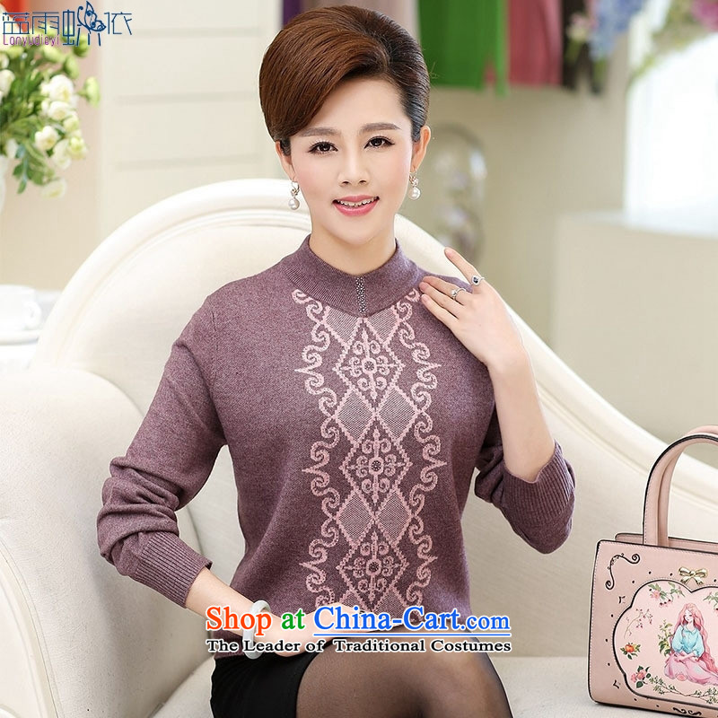 In 2015, the elderly woman fall in new moms with larger forming the shirt, wine red�XXL